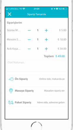 allzin mobil sipariş türleri