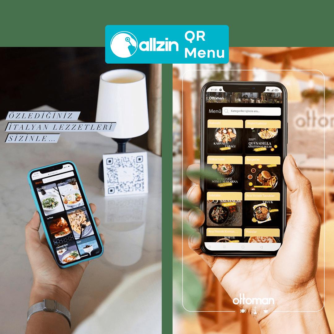 restoranlar için QR menü adı verilen dijital menü ve tasarım görünüşü